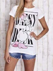 Biały t-shirt z nadrukiem DAISY