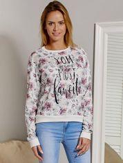 Bluza damska w kwiaty z napisem beżowa