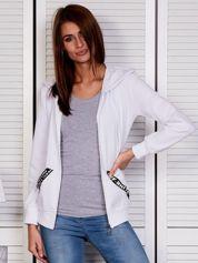 Bluza damska z kontrastowymi taśmami biała