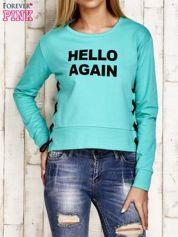 Bluza lace up zielona z napisem