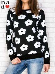 Bluza w kwiaty czarna
