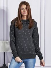 Bluza z kapturem w serduszka i kotwice grafitowa