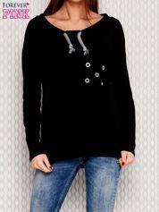 Bluza z plecionym sznurkiem przy dekolcie czarna