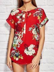 Bluzka damska z motywem floral print i wiązaniem czerwona