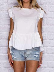 Bluzka damska z szeroką falbaną na dole biała