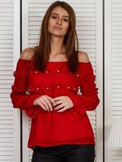 Bluzka hiszpanka z falbankami i perełkami czerwona