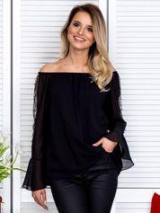 Bluzka hiszpanka z ozdobną aplikacją na rękawach czarna