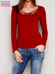 Butik Bluzka lace up z długim rękawem czerwona