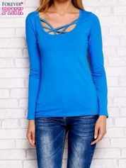 Bluzka lace up z długim rękawem niebieska