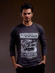 Bluzka męska z nadrukiem samochodu ciemnoszara