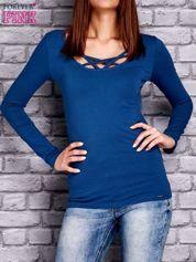 Bluzka z paseczkami przy dekolcie ciemnoniebieska