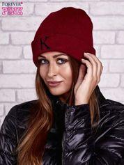 Forever Pink Bordowa czapka beanie z literą K