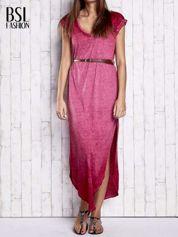 Bordowa dekatyzowana sukienka maxi