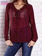 Bordowa koszulowa bluzka mgiełka z wiązanym dekoltem