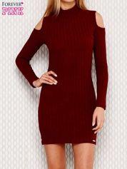 Bordowa prążkowana sukienka cut out