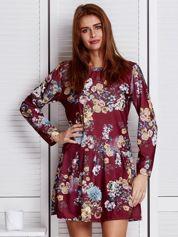 Bordowa sukienka floral print z falbaną