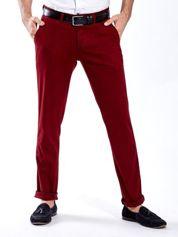 Bordowe spodnie męskie chinos
