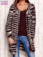 Bordowy otwarty melanżowy sweter