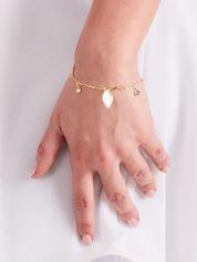 Bransoletka damska złota podwójna z przywieszkami w kształcie listków i cyrkoniami