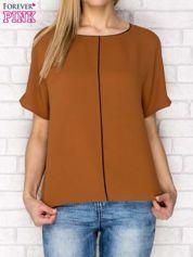 Brązowa pudełkowa bluzka koszulowa