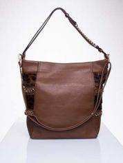 Brązowa torba z motywem panterkowym i odpinanym paskiem