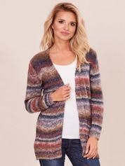 Brązowo-bordowy sweter z kolorową nitką