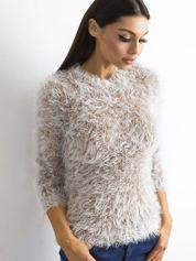 Brązowy sweter z długim włosem i cekinami