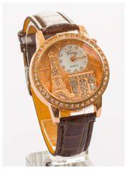 Brązowy zegarek damski z cyrkoniami na skórzanym pasku