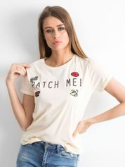 Brzoskwiniowy t-shirt Bustling