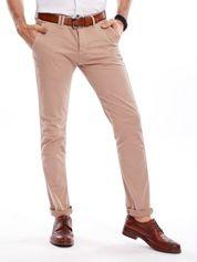 Ciemnobeżowe bawełniane spodnie męskie chinosy