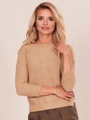 Ciemnobeżowy sweter z suwakiem