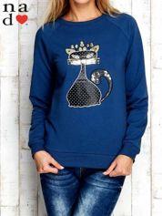 Ciemnoniebieska bluza z cekinowym kotem