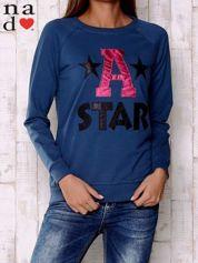 Ciemnoniebieska bluza z napisem A STAR