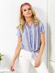 Ciemnoniebieska koszula w paski wiązana