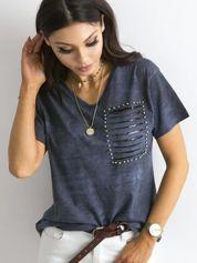 Ciemnoniebieska luźna bluzka cut out z cekinami i perełkami