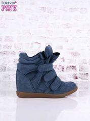 Ciemnoniebieskie zamszowe sneakersy na rzepy Leni