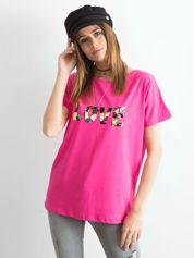 Ciemnoróżowy luźny t-shirt Lovers