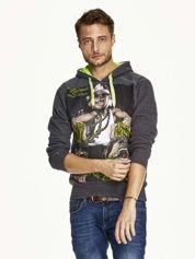 Ciemnoszara bluza męska z raperskim nadrukiem