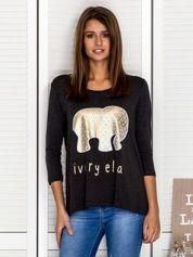 Ciemnoszara bluzka ze złotym słonikiem