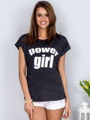 Ciemnoszary t-shirt POWER GIRL