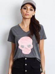 Ciemnoszary t-shirt z czaszką
