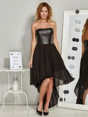 Czarna asymetryczna sukienka wieczorowa ze skórzanym gorsetem