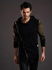 Czarna bluza męska z asymetrycznym suwakiem i wstawkami moro