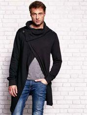 Czarna bluza męska z kaskadowym dekoltem
