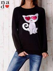 Czarna bluza z aplikacją kota