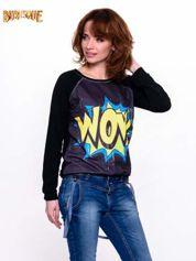 Burlesque Czarna bluza z komiksowym nadrukiem WOW