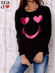 Czarna bluza z motywem emoji