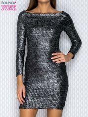 Czarna błyszcząca sukienka w prążek