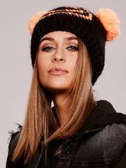 Czarna czapka z pomponami-uszkami