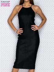 Czarna dopasowana sukienka w drobny prążek